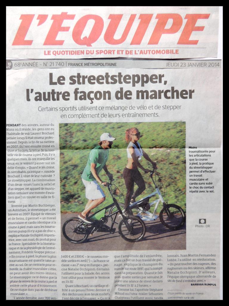 Article Streetstepper journal 'L'EQUIPE » jeudi 23 janvier 2014